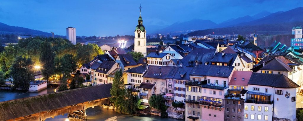 evening view over old Olten, Switzerland